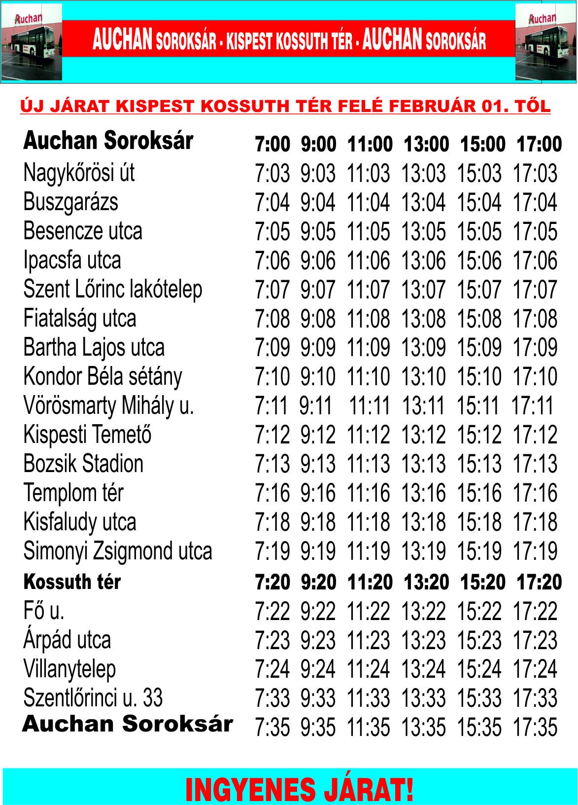 ... Auchan Soroksár - Pesterzsébet városközpont és az Auchan Soroksár -  Havanna lakótelep ingyenes buszjáratok aktuális menetrendjét! cbdfe8e148